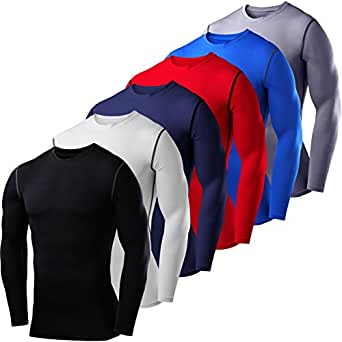 Mens & Boys PowerLayer Compression Base Layer / Baselayer Top Long Sleeve Under Shirt - Crew Neck - Blue - 6 years
