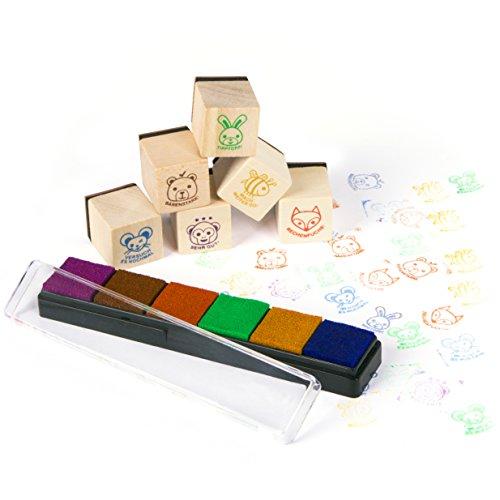 Purovi Lehrer Stempel Set aus Holz / Belobigungs Stempel für Pädagogen / Tierbilder und motivierende Sprüche / Klassenarbeiten & Hausaufgaben (Stempel Für Lehrer)