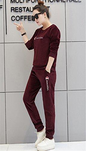 JOTHIN 2017 Donna Corea larghi Tuta Autunno Inverno Motivi Girocollo Manica lunga T-shirt Sport Pantaloni set Termico Ricamo Caloroso Magliette Skinny Calzoni 2 Pezzi Porpora
