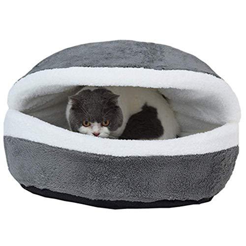 RuiHuang Warmes Hundebett Haus Hamburger Bett Hunde Zerlegbarkeit Winddicht Pet PuppyShell Versteck Burger für Winter Grau M 45cmX35cm -