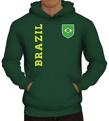 Brasil Brasilien Fußball WM Fanshirt Gruppen Herren Hoodie Männer Kapuzenpullover Fan Trikot Brazil, Größe: S,dunkelgrün -