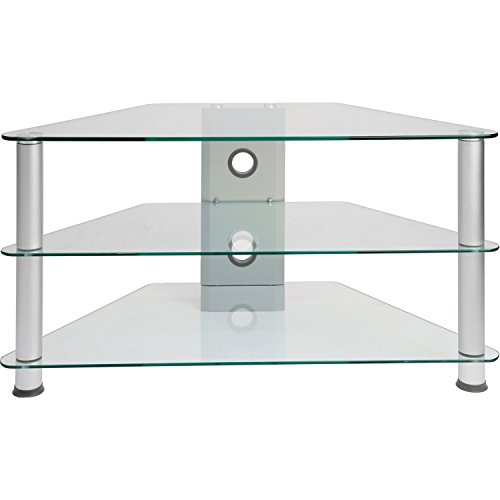 STILISTA TV Rack Glas Tisch, 96 x 46 x 50 cm, 8 mm Sicherheitsglas, Aluminium Tubes, Fernsehtisch, Regal