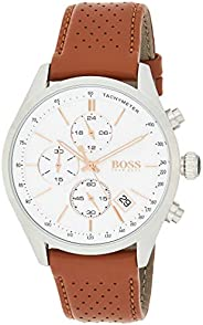 Hugo Boss Mens Quartz Watch, Chronograph Display and Leather Strap