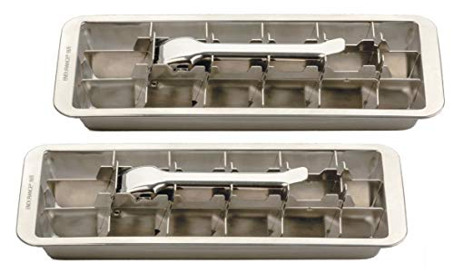Endurance Stainless Steel 18 Slot Ice Cube Tray, Easy Release Handle (2-Pack) Ice Ice Cube Trays