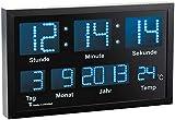 Lunartec LED Funk Wanduhr: Multi-LED-Funk-Uhr mit Datum und Temperatur, 412 Blaue LEDs (Funkuhr LED)