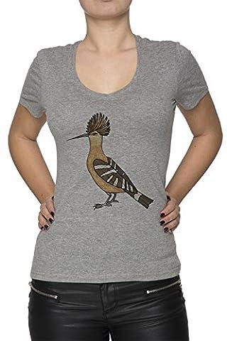Oiseau Femme T-Shirt V-Col Gris Manches Courtes Taille XL Women's V-Neck Grey X-Large Size XL