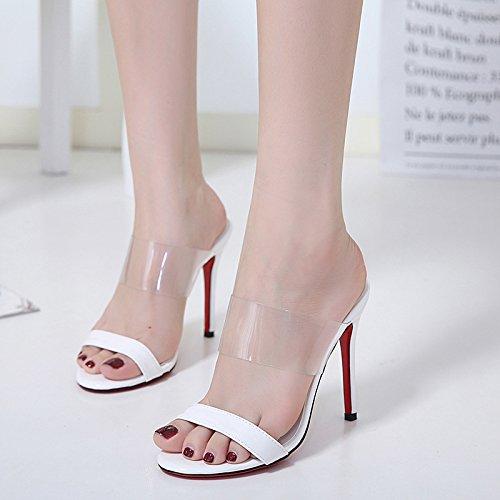 La signora tacchi alti scarpe banchetti moda tacchi alti sandali lucidi benissimo con i sandali White