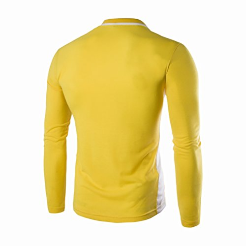 YouPue Herren Herbst Freizeit Baumwolle Langarmshirt Tops Slim Fit Longsleeve Poloshirt Gelb