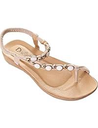 d0fcea36444 Minetom Damen Sandalen Fashion Perle Rhinestone Sommer Flip-Flops Mädchen  T-Strap Gladiator Sandalen