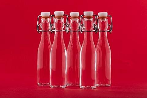 Lot de 24 petites bouteilles en verre avec bouchon à étrier mécanique 40 ml hauteur 15,8 cm slkfactory