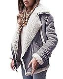 OranDesigne Damen Mäntel Mode Warm Streetwear Winter Faux Wildleder Shearling Reißverschluss Jacke Slim Fit Revers Outwear mit Taschen Grau DE 34