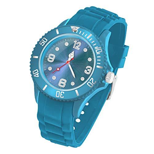 Taffstyle Deutschland Damen Uhr Analog Quarz mit Silikon-Armband Sport Farbige Sportuhr Bunte Armbanduhr Herren Kinder 34mm Türkis