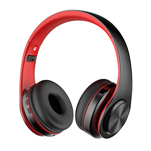 Bluetooth Kopfhörer Over Ear, Alitoo Kabellose Headset mit Mikrofon, Noise Cancelling Headphones HiFi Stereo Faltbare Kopfhörer für Sport, Reisen, PC/Handy/Laptop/Tablet / MP3 -Schwarz Rot