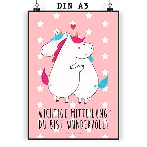 Mr. & Mrs. Panda Wanddeko, Geschenk, Poster DIN A3 Einhorn Mitteilung mit Spruch - Farbe Rot Pastell