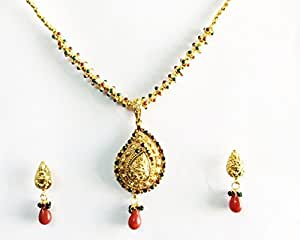 South Indian Traditional Jewelry Gold Lakshmi New Design Necklace Set Earrings