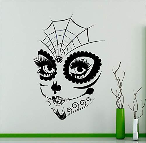 mer Sugar Skull Girl Face Sticker Make Up Home Art Decor for living room bedroom girls bedroom ()