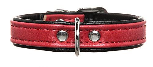 HUNTER Hundehalsband, Modern Art, Kunstleder, kleine Hunde, klassisch, 32 (XS), rot/schwarz