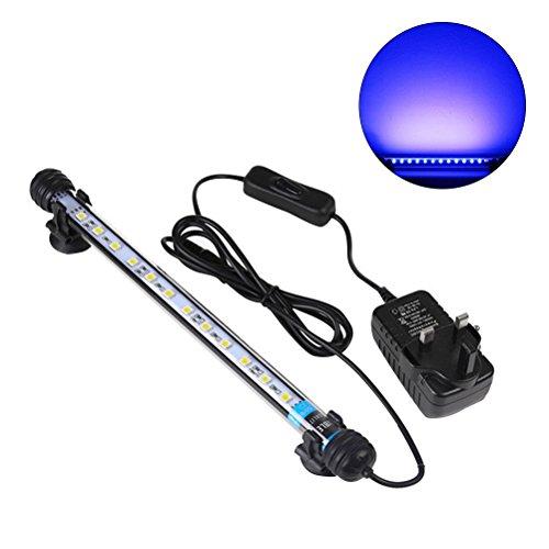 UEETEK 28CM LED Pecera Luces de iluminación del acuario 5050 SMD RGB Barra de Luz Subacuática sumergible impermeable Clip lámpara - Azul (Europe Standard Plug)