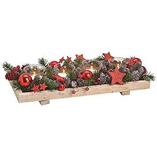 matches21-Adventsgesteck-Holz-Tablett-winterlich-dekoriert-Grn-Zapfen-Kugeln-grn-rot-4-Teelichtglser-1-STK-40-cm
