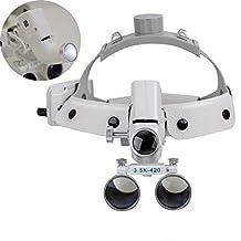 31f15ac58ede5 Athenadental Lupa de Cristal quirúrgico con Lupa Binocular Dental + Faro  LED (3,5