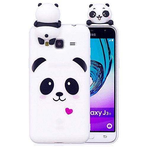 Zcro cover per samsung galaxy j3 2016/2015, custodia cover silicone morbido gomma case silicone tpu con disegni antiurto sottile protettiva custodia per samsung galaxy j3 2016/j320 (panda)