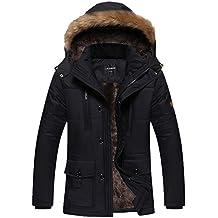 Dehutin Hombres Encapuchado Abrigo pesado Cálido Invierno Chaqueta Casual Talla grande Ropa de algodón acolchada