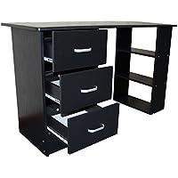 Hochwertig Redstone Schwarz Schreibtisch   3 Schubladen + 3 Regale   Arbeitstisch  Computertisch Bürotisch