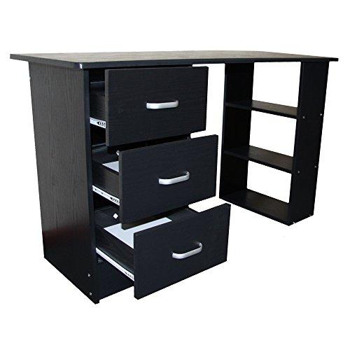 Redstone Schwarz Schreibtisch - 3 Schubladen + 3 Regale - Arbeitstisch Computertis...