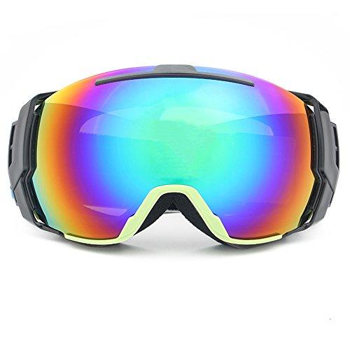 LYLhmj Skibrille Ski-Schutzbrillen Snowboard Brille Outdoor-Sport Snowboard-Schutzbrillen Anti-Nebel UV-Schutz winddicht Doppel-Objektiv Snowboardbrille für Motorrad Fahrrad Skifahren Skaten (Sand grüner Rahmen)