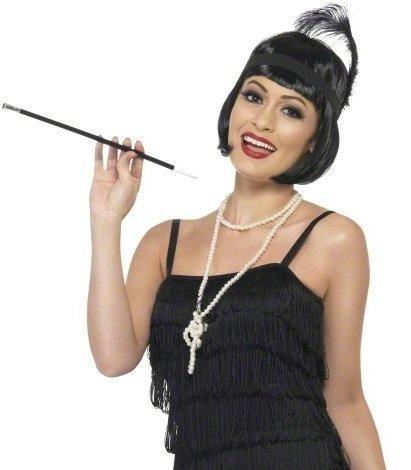Damen 1920er Jahre Instant Flapper Perücke Bob Schwarz Halskette Kopfbedeckung Zigarettenspitze Kostüm Kostüm Zubehör Outfit Satz (1920er Jahre Perücke)
