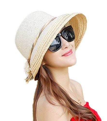 dnghuncun Ladies Sun Hat Sunscreen Folding Beach Straw Sun Hat Reversible Summer Wide Hat UPF 50+ Outdoor Holiday Travel White -
