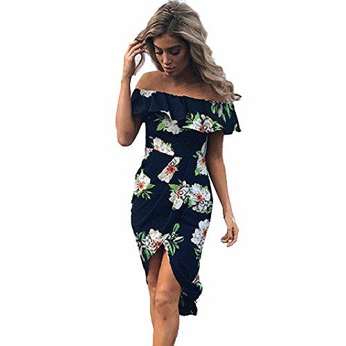 LILICAT Damen Sommer Kleider Frauen Weg vom Schulter Kleid Partei Minikleid Drucken Blumen Strand Kleid (Blau, L)