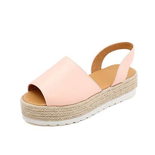 Scarpe Sandali Donna Piattaforma Estivi con Tacco Medio Peep Toe Intrecciata Eleganti Casual Moda Nero Rosa Blu Taglia 35-43 Rosa 36EU