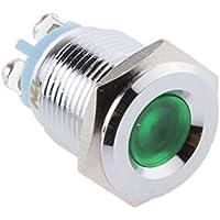 Universale Auto 12V LED 16MM 5/8 Pollici Metallo Lampada Spia Cruscotto Indicatore - Verde