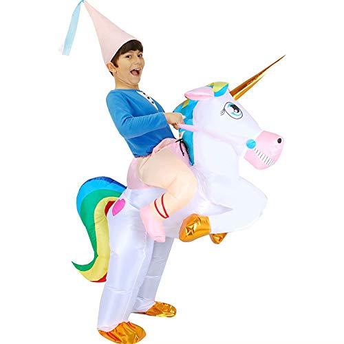 Baymax Kostüm Cosplay - Kinder Erwachsene Aufblasbare Einhorn Kostüm Halloween Kostüm Blow Up Party Cosplay Kostüm Aufblasbare Einhorn Reiter Kostüm mit einem Hut (Kind 120-140 cm, Erwachsene 160-190 cm)