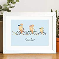 Personalised Family Portrait Print of Bears on Bikes. A Beautiful Decorative Print for any Family Home