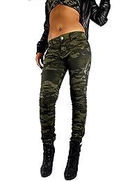 a511b23add42 if she Damen Push up Biker Hose Army Military Bundeswehr Style Super  Stretch Gesteppte Knie Camouflage Tarnfarbe…