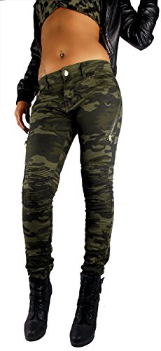 (Damen Push Up Biker Hose Army Military Bundeswehr Style Super Stretch Gesteppte Knie Camouflage Tarnfarbe grün Töne mit Zier Reißverschluss, Größe:XS, Farbe:Khaki)