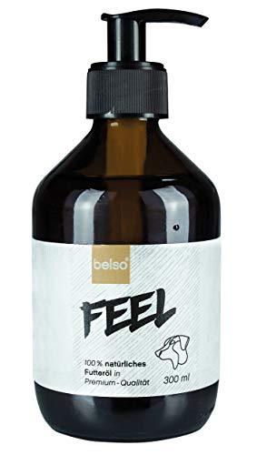 belso Feel Premium Futteröl für Hunde 100% natürlich mit Lachsöl Hanföl Leinöl Nachtkerzenöl Borretschöl Schwarzkümmelöl Omega 3 6 Öl Barf Fell Haut Haar Barföl Hund Geschenk Weihnachten