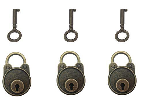 Mini candados retro estilo antiguo inglés con llaves para gimnasio, e