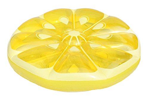Pool Central 124,5 cm Gonflable Jaune Citron Fruit Slice Piscine Island et Chaise Longue Gonflable Flotteur