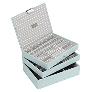 STACKERS Set of 3 'CLASSIC SIZE' Duck Egg Blue STACKER Set of 3 Jewellery Box with Grey Polka-Dot Lining.