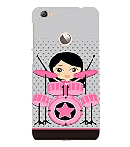 printtech Drummer Girl Star Back Case Cover for LeEco Le 1s