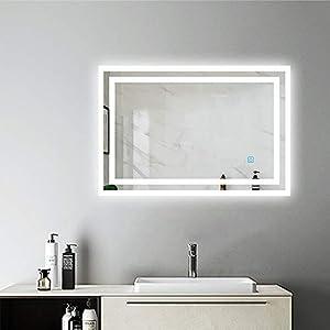AicaSanitär Wandspiegel mit Beleuchtung 80×60 cm Touch, Anti-BESCHLAG, 6400K, Kaltweiß, LED Bad Spiegel Badmöbel Sonnelicht Serie