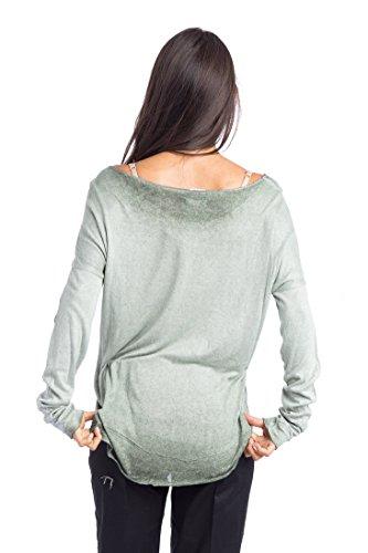Abbino 6286 Chemisiers Blouses Tops Femmes Filles - Fabriqué en Italie - Plusieurs Couleurs - Été Automne Hiver Plaine Chemises Brillant Viscose Manches Longues Elegante Classique - Taille Unique Vert Olive (Art. 6286)