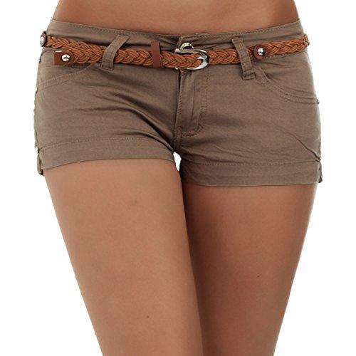 malucas Sábia Damen Hotpants Shorts Bermuda Capri Hüfthose inkl. Gürtel, Größe:38, Farbe:Coffee