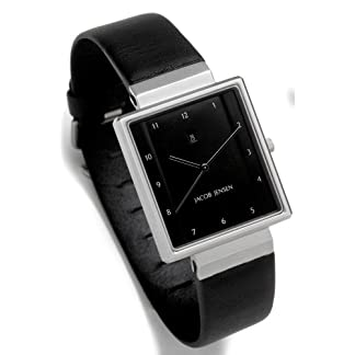 Jacob Jensen Rectangular 32865 – Reloj de Caballero de Cuarzo, Correa de Piel Color Negro