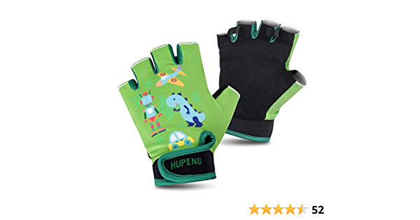 Anti Slip Shock Absorbing Padded Breathable Fingerless Sports Gloves Accessories for Kids Ages 4-10 HUPENG Cycling Gloves for Kids