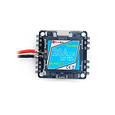 Crazepony-UK Sunrise BLHeli-S 4-in-1 20A Mini ESC LBEC 2-4S 36x36mm Mounting Hole Electronic Speed Controller 2-4S Lipo Input Special for FPV Racing Multirotor