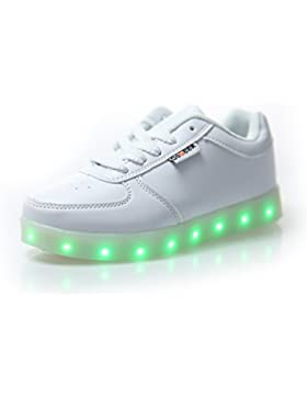 [Patrocinado]DoGeek Zapatos Led Blanco Negras LED Zapatillas Luces Luminosos Zapatillas 7 Color USB Carga Led Deportivos para...